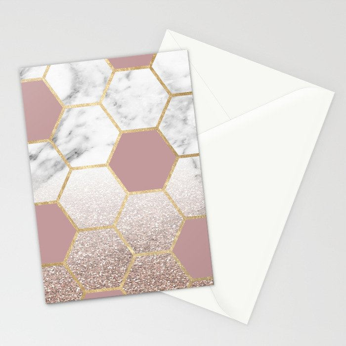 Cherished aspirations rose gold marble Stationery Cards