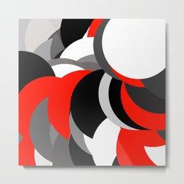 black white grey red geometric digital art Metal Print