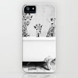 Four Giraffes in a Bath (bw) iPhone Case