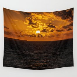 Sunset over the ocean art print Wall Tapestry