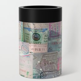 A Celebration of Passport Stamps Can Cooler