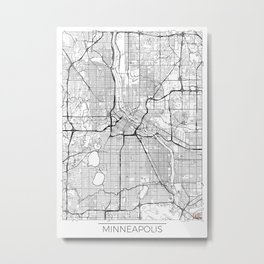 Minneapolis Map White Metal Print
