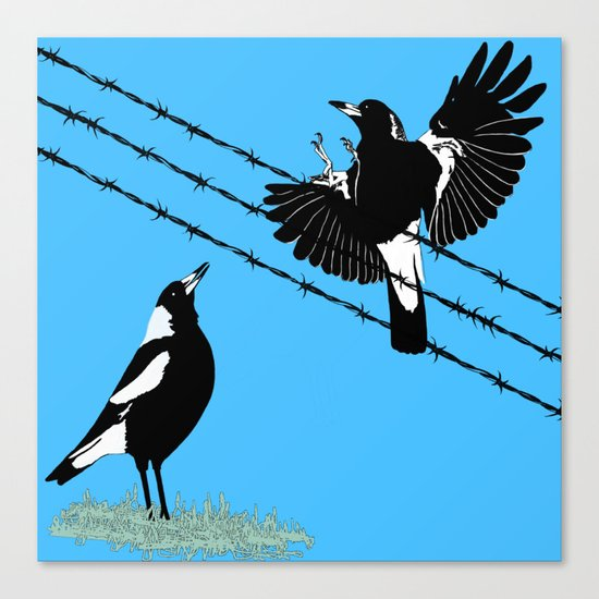 Magpies: learn to fly Canvas Print