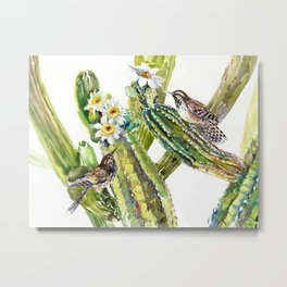 Arizona State Bird and Flower, Saguaro Cactus and Wren Metal Print