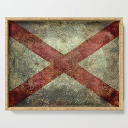 Alabama State Flag - Grungy Version Serving Tray