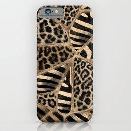 Animal Print - Leopard and Zebra - pastel gold iPhone Case