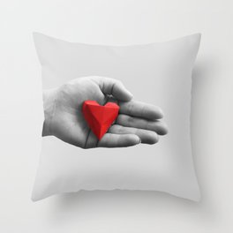 hand with red heart Throw Pillow