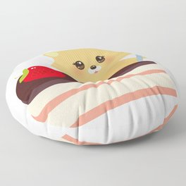 cute kawaii hamster with fork, Sweet cake decorated with fresh Strawberry, pink cream and chocolate Floor Pillow