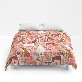 Boxer mixed coats dog breed florals pet gifts for boxers pupper must haves Comforters