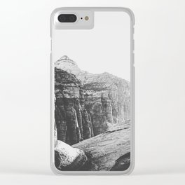 mountain with summer light in black and white Clear iPhone Case