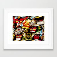 power rangers Framed Art Prints featuring Power Rangers Megazords by sn33ky