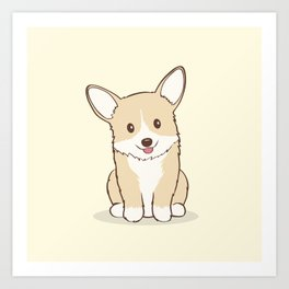 Eli the Corgi Illustration Art Print