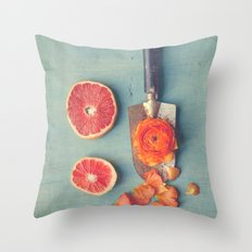 Grapefruit and Flowers Throw Pillow