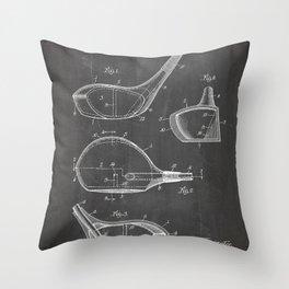 Golf Driver Patent - Golf Art - Black Chalkboard Throw Pillow