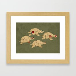 Heroes in a pizza box... Turtle Power! Framed Art Print