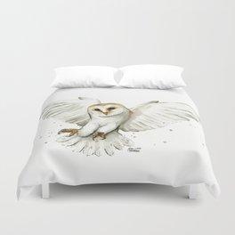 Barn Owl Flying Watercolor | Wildlife Animals Duvet Cover