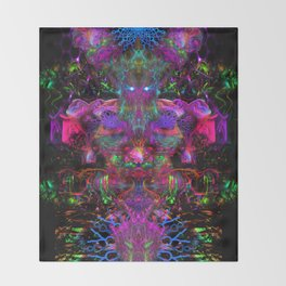 7 Temporal Spirits (psychedelic, psytrance, totem, fluorescent, visionary art) Throw Blanket