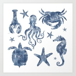 Delft Blue nautical Marine Life pattern, coastal beach Art Print