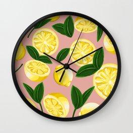 pink lemons Wall Clock