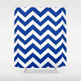 Smalt (Dark powder blue) - blue color - Zigzag Chevron Pattern Shower Curtain