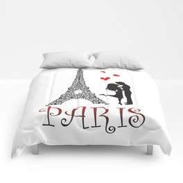 Couple and Eiffel Tower. Comforters