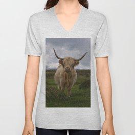 Highland Cow Roaming Free Unisex V-Neck