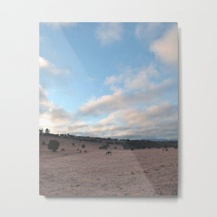 Landscape & Horses III Metal Print