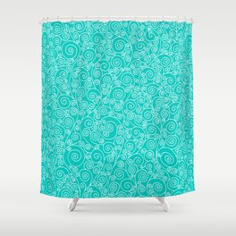 Turquoise Vines Drawing Shower Curtain