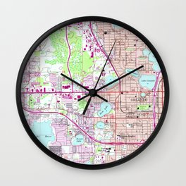 Vintage Map of Western Orlando Florida (1956) Wall Clock