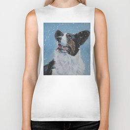 The Cardigan Welsh Corgi dog art portrait from an original painting by L.A.Shepard Biker Tank