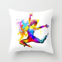 Hip hop dancer jumping Throw Pillow