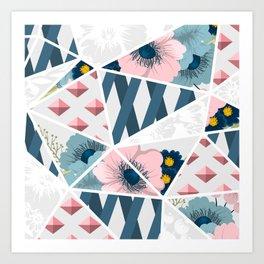 Colorful Geometric Flowers Pattern Art Print