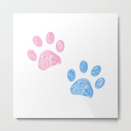 Pink and blue colored hand drawn paw print background Metal Print
