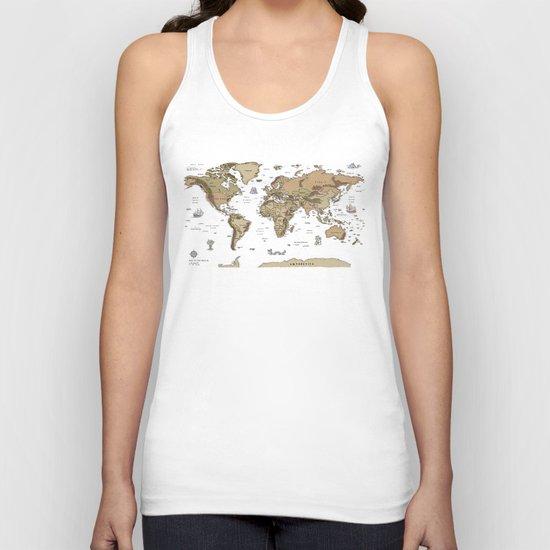 World Treasure Map Unisex Tank Top