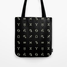 Zodiac Symbols - Black Tote Bag