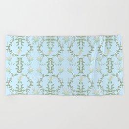 Tiff Blue Lotus Garden Beach Towel