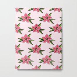 Old school tattoo flower pattern in pink Metal Print
