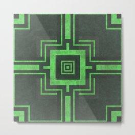 Old Mosaic Tiled Pattern - Mint Pastel On Black Metal Print