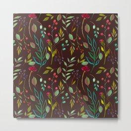 chalkboard watercolor wildflowers Metal Print