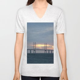 Sunset behind Oresund Bridge  Unisex V-Neck