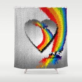 rainbow heart Shower Curtain