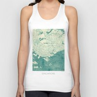 singapore Tank Tops featuring Singapore Map Blue Vintage by City Art Posters