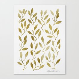 Leafy Twigs - Gold Canvas Print