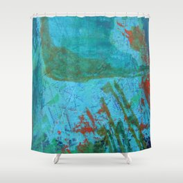 Blue ocean - abstract,acrylic, minimal art piece in shades of blue Shower Curtain