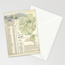 New York State Adirondack/High Peaks table [vintage inspired] Map print Stationery Cards