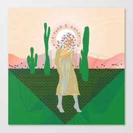 Wild-Eyed & Wandering, Woman and Cactus Contemporary Illustration Canvas Print