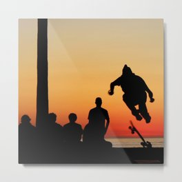 Sunset Skater Metal Print