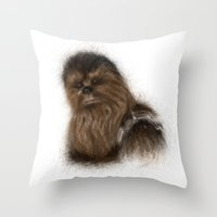 chewbacca Throw Pillows featuring Chewbacca by KitschyPopShop