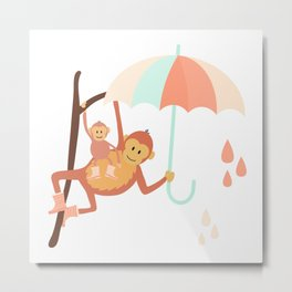 Monkeys in Rain Boots | Mint and Peach Metal Print