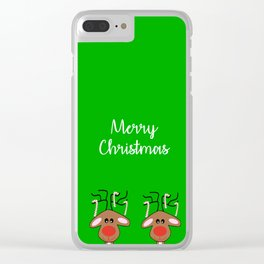 Merry Christmas Reindeer Green Clear iPhone Case